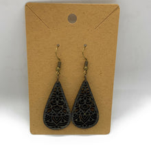 Load image into Gallery viewer, Lace Black Stained Custom Cut Wooden Earrings