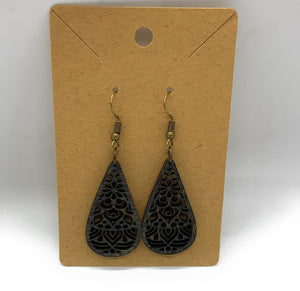 Lace Black Stained Custom Cut Wooden Earrings