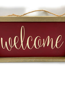 Welcome Custom Made Framed Wooden Sign