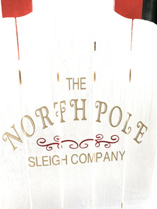 Holiday Christmas Sled Custom Painted The North Pole Sleigh Company