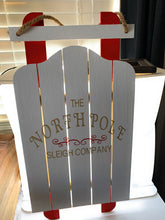 Load image into Gallery viewer, Holiday Christmas Sled Custom Painted The North Pole Sleigh Company