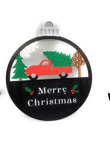 Hand Painted Red Truck Oversized Ornament / Wood Hanging