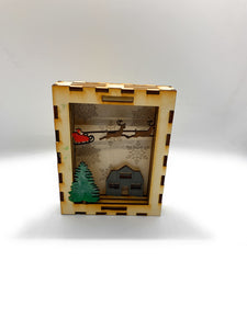 Holiday Christmas 3D Shadow Box With Lid