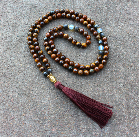 108 Mala Beads Tigers Eye Stone Necklace with Tassel