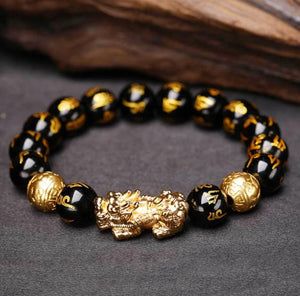 Feng Shui Pixiu Good Luck Black Obsidian Wealth Bracelet