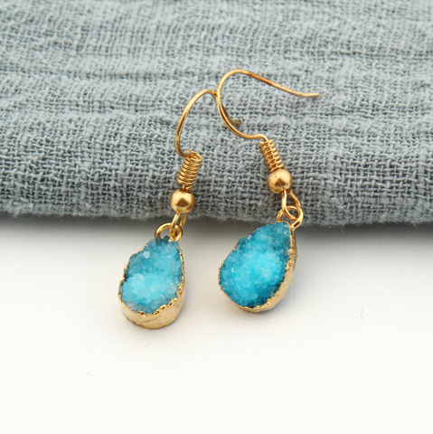 Gold Dipped Natural Stone Drop Dangle Earrings Slice Gold