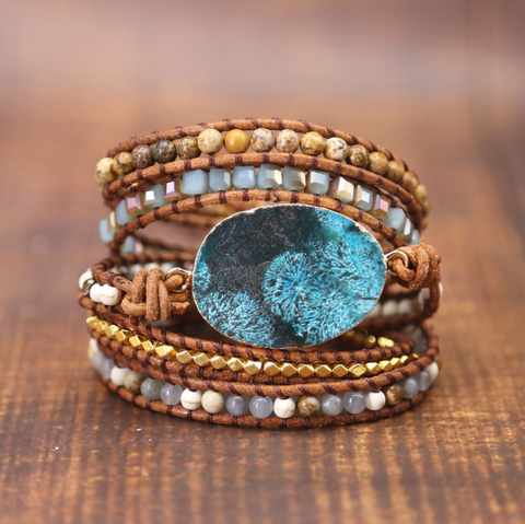 Amazonite Leather Wrap Bracelet Bead Nature Stone Bracelet Healing