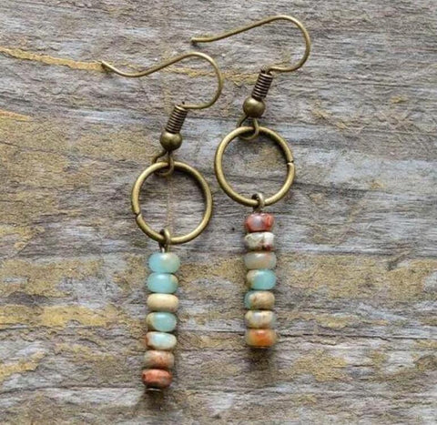 Vintage Japer Stone Healing Drop Earrings