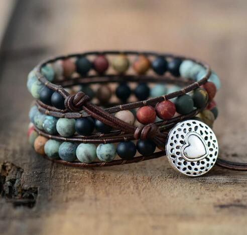 "Natural Semi-Precious African Turquoise Gemstones ""LOVE"" Leather Wrap Bracelet Bangle Gift"