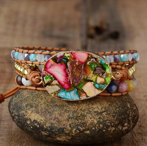Healing Jasper Stone Wrap Protection Anxiety Relief Bracelet
