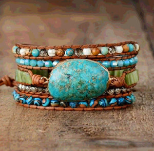 Turquoise Bracelet Leather Jasper Bracelet Natural Stone Healing Beads