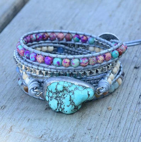 Turquoise Stone Energy Protection Bracelet Natural Gemstone Healing Balance Meditation Bracelet