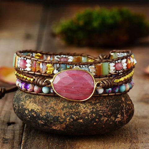 Red Rhodochrosite Healing Stone Bracelet Natural Raw Gemstone Leather Wrap Bracelet with Beads