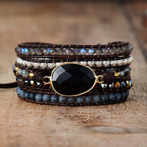 Black Onyx Stone Bracelet Crystal Leather Wrap Bracelet Chakra