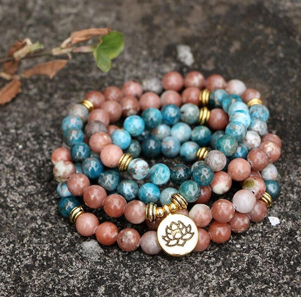 108 Beads Mala Apatite Stone Bracelet Mala Prayer 5 Strands Healing Necklace