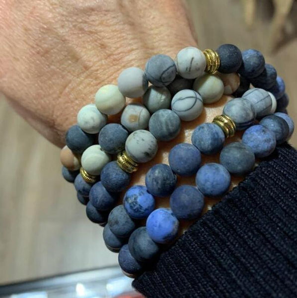108 Mala Beads Natural Blue Stone&Picasso Healing Meditation Necklace Bracelet
