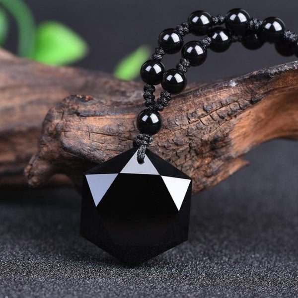 Healing Natural Obsidian Stone Spiritual Protection Balance Meditation Grounding Necklace