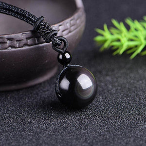 Rainbow Eye Obsidian Healing Natural Stone Good Luck Balancing Meditation Necklace