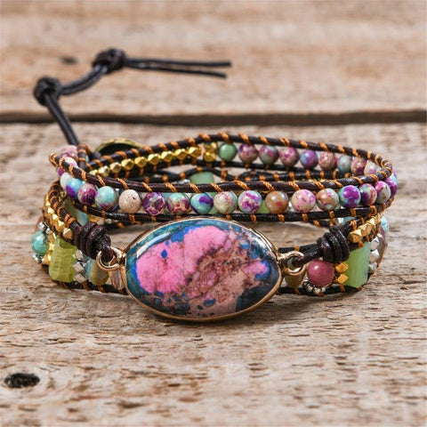 Natural Galaxy Sea Sediment Jasper Stone Fearless Anxiety Stress Relief Balance Bracelet