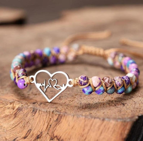 Heartbeat Charm Stone Anxiety Sea Sediment Meditation Healing Bracelet