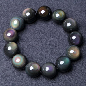 Natural Stone Black Rainbow Eye Obsidian Healing Bracelet