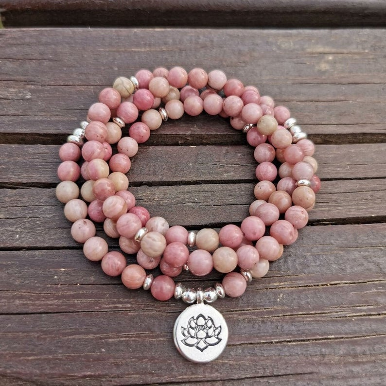 108 Mala Beads Rhodochrosite Meditation Necklace