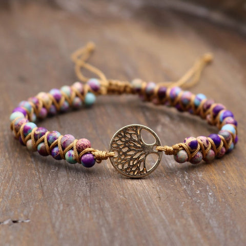 Tree of Life Charm Natural Healing Galaxy Sea Sediment Jasper Stone Bracelet