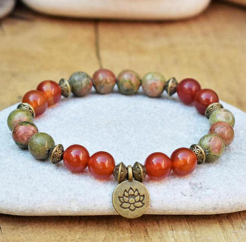Rhodochrosite Picasso Stone Grounding Healing Balance Calming Bracelet