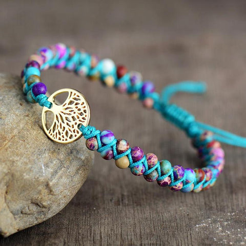 Galaxy Sea Sediment Stone Tree Of Life Charm Bracelet