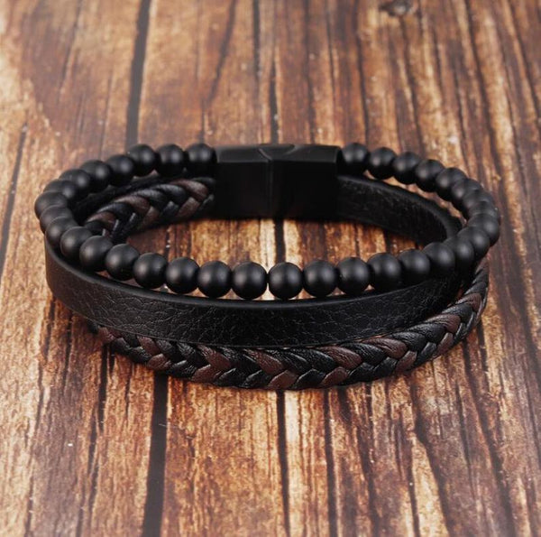 Men's Black Onyx Stone Strength Calming Healing Bracelet