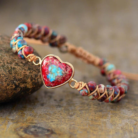 Galaxy Sea Sediment Stone Healing Passion Heart Bracelet