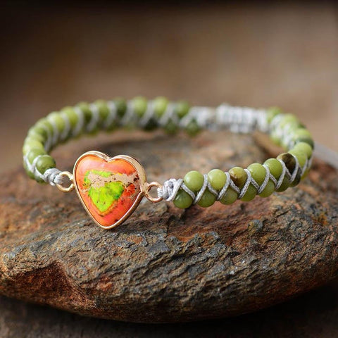 Natural Green Jade Heart Healing Grounding Bracelet