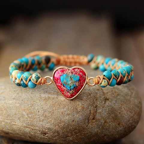 Natural Turquoise Gemstone Healing Passion Heart Bracelet
