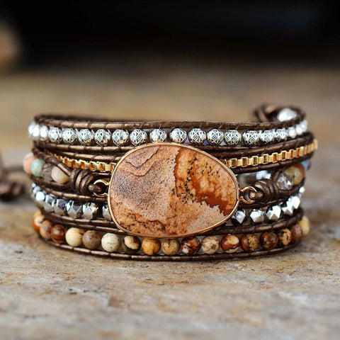 Natural Picture Jasper Gemstone Healing Bracelet
