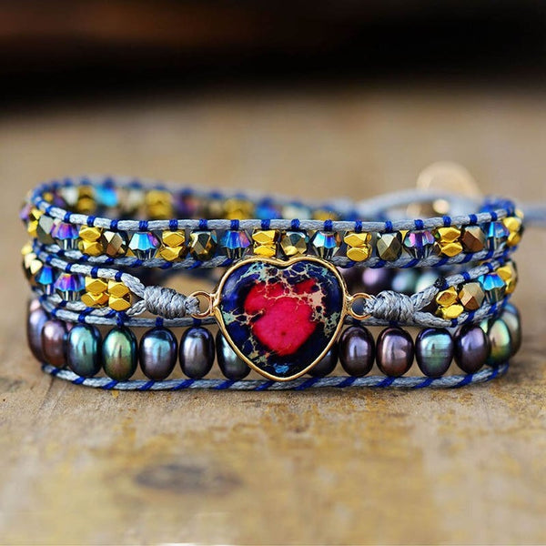 Natural Galaxy Sea Sediment Stone Love Bracelet-
