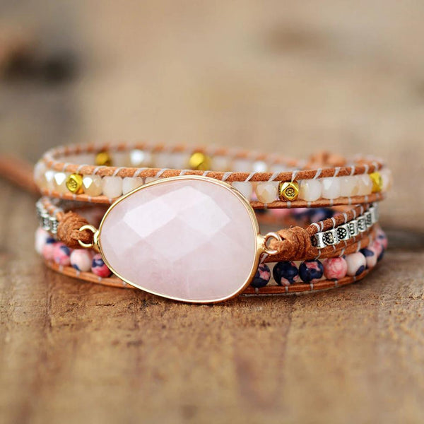 Natural Rose Quartz Healing Stone Bracelet Balance Meditation Anxiety Relief Bracelet
