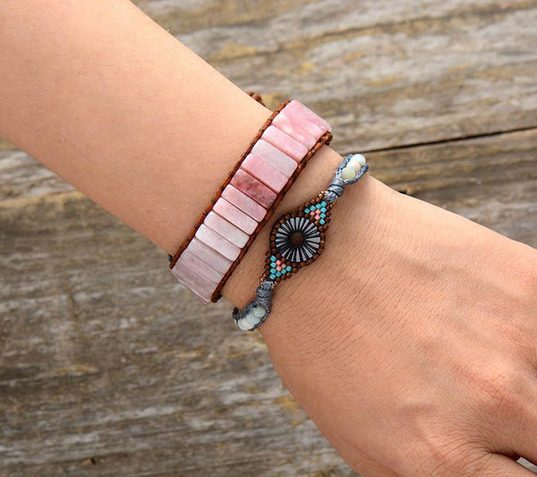 Handmade Natural Pink Rose Quartz Stone Leather Wrap Bracelet