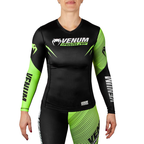 Venum Training Camp 2.0 Ladies Long Sleeved Rash Guard - Black/Neon Yellow - Gymzey.com
