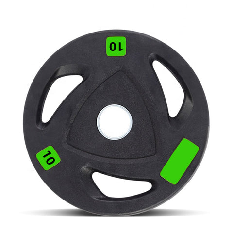"Polyurethane-Coated Olympic 2"" Tri-Grip Weight Plates - 2 x 10kg"