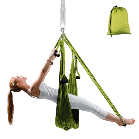 Flying Aero Yoga Antigravity Hammock with 6 Grips, 280 x 150cm - Green - Gymzey.com