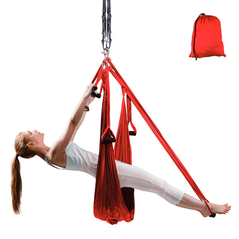 Flying Aero Yoga Antigravity Hammock with 6 Grips, 280 x 150cm - Red - Gymzey.com