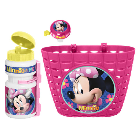Kids Bicycle Set Minnie Mouse (Basket, Water Bottle, Bell) - Gymzey.com