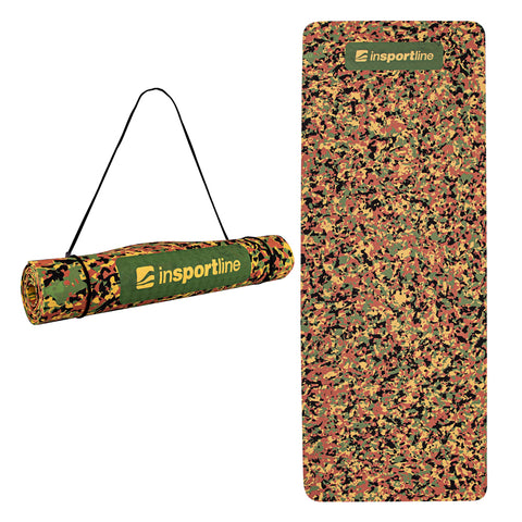 Exercise Yoga Mat 5.6ft with Shoulder Strap - Brown Camo