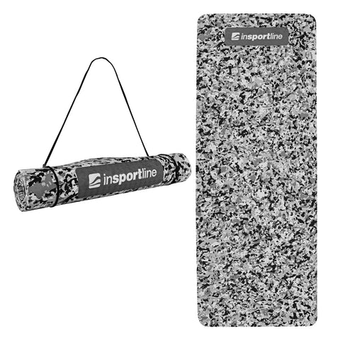 Exercise Yoga Mat 5.6ft with Shoulder Strap - Grey Camo