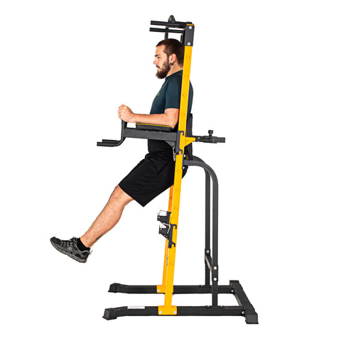 Free-Standing Pull-Up Station Power Tower PT250 11 with parallel bars/barbell stand positions - Gymzey.com