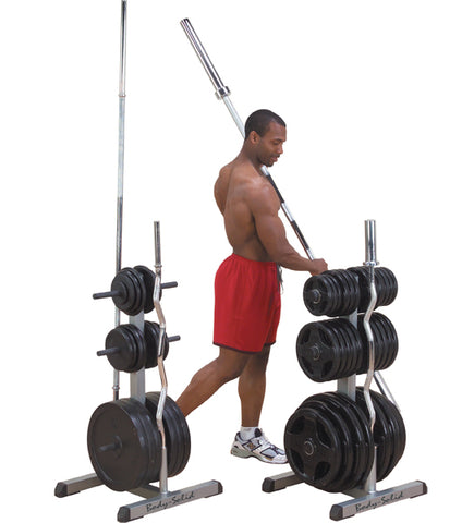 Storage Rack for Bars and Weight Plates Body-Solid Olympic 2-in-1 - Gymzey.com
