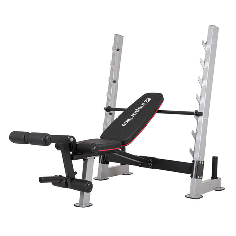 Top Grade Multi-Purpose Adjustable Bench Hero B130 with leg curls, 7 bar hooks and plates storage - Gymzey.com