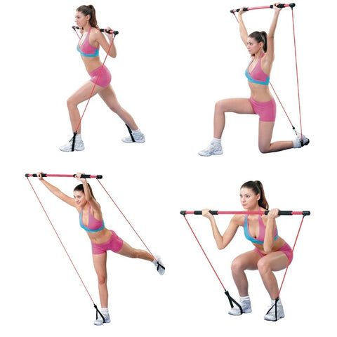 Exercise Bar with Resistance Bands 130cm + Instructions training DVD - Gymzey.com
