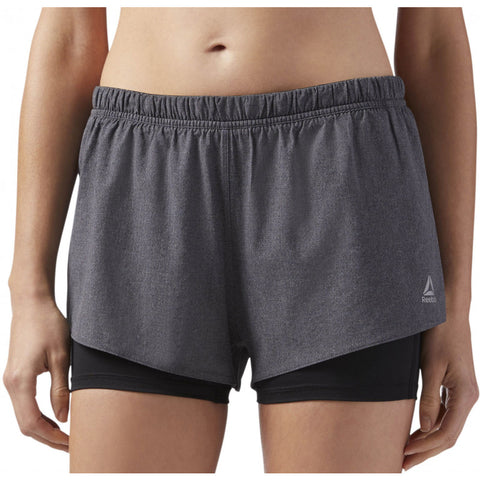 Reebok Running 2-In-1 Shorts - Black - Gymzey.com