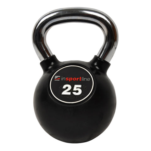 Premium Rubber-Coated Steel Kettlebell with a Chromed Grip - 25kg